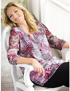 Beaded Jewel Print Tunic by Ulla Popken