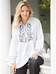 Embroidered Pintuck Tunic by Ulla Popken