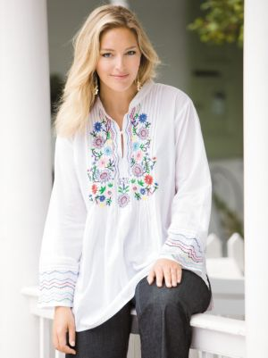 Embroidered Pintuck Tunic