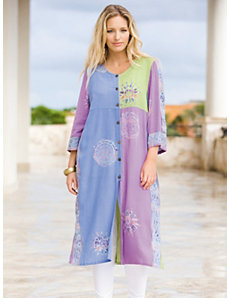 Batik Long Duster by Ulla Popken