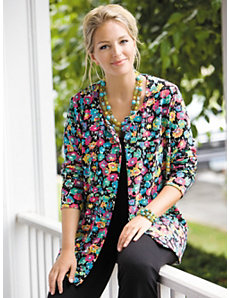 Floral Knit Cardigan by Ulla Popken