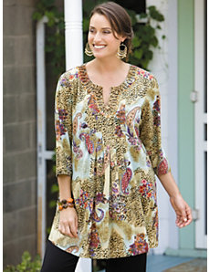 Animal Paisley Print Knit Tunic by Ulla Popken