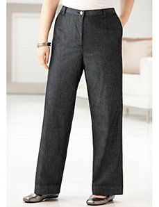 Wide-leg Denim Trousers by Ulla Popken
