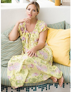 Floral Print Nightgown by Ulla Popken