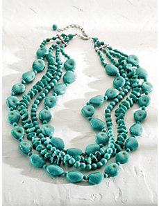 Stone and Bead Necklace by Ulla Popken