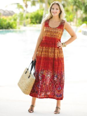 Border Print Tank Dress