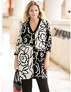 Graphic Floral Shacket Duster by Ulla Popken