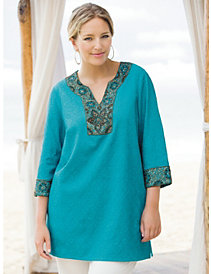 Embroidered Beaded Tunic by Ulla Popken