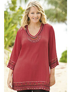 Beaded Gauze Tunic by Ulla Popken