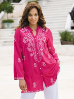 Embroidered Button Front Blouse