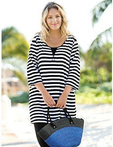 Striped Cotton Knit Tunic by Ulla Popken