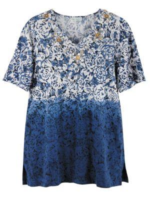 Floral Dip Dye Knit Tunic