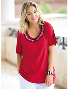 Beaded Scoop Neck Knit Top by Ulla Popken