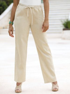 Linen Blend Drawstring Pant