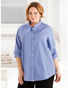 Iron-free Mandarin Collar Shirt by Ulla Popken
