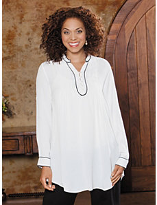 Pintuck Trim Tunic by Ulla Popken