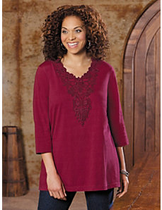 Lace Medallion Knit Top by Ulla Popken