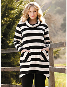 Cowl Neck Striped Knit Tunic by Ulla Popken