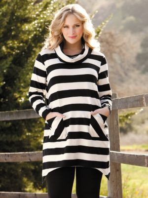 Cowl Neck Striped Knit Tunic