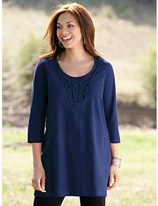 Braid Ribbon Knit Tunic by Ulla Popken