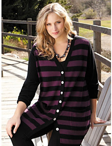 Striped Cardigan Sweater by Ulla Popken