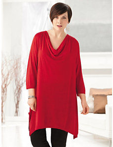 Waterfall Sharkbite Knit Tunic by Ulla Popken