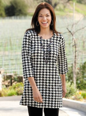 Houndstooth Knit Tunic