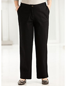 Short Stretch Twill Button Pant by Ulla Popken