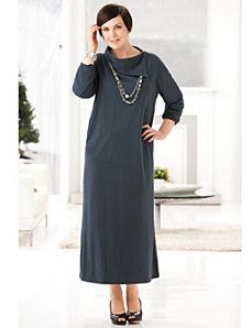 Split Neck Knit Dress by Ulla Popken