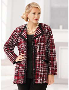 Tweed and Chenille Plaid Jacket by Ulla Popken