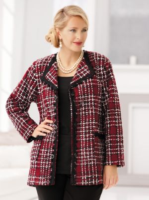 Tweed and Chenille Plaid Jacket