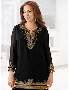 Gold Rush Embellished Tunic by Ulla Popken