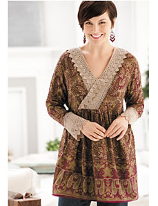 Crocheted Lace-trim Tunic by Ulla Popken