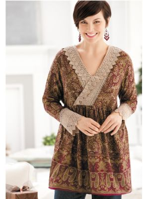 Crocheted Lace-trim Tunic