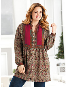 Magic Carpet Bib-front Tunic by Ulla Popken