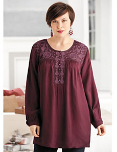 Tonal Embroidered Tunic by Ulla Popken