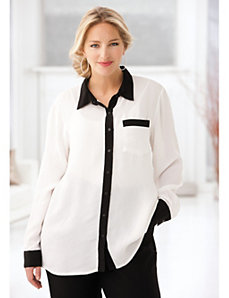 Contrast Edged Blouse by Ulla Popken