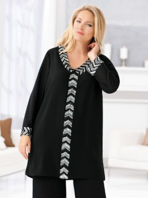 Chevron Sequin Front Tunic