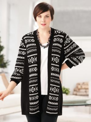 Intarsia Cardigan Sweater