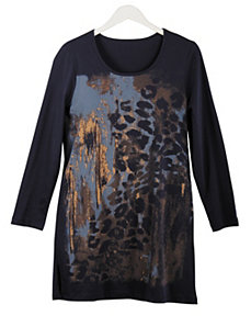 Animal Stamp Knit Tunic by Ulla Popken
