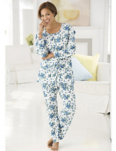 Blue Garden Knit Pajamas by Ulla Popken