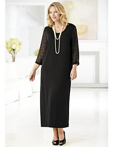 Matte Jersey Dot Sleeve Maxi Dress by Ulla Popken