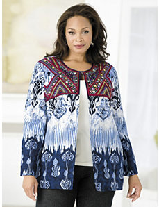 Beaded Detail Ikat Jacket by Ulla Popken
