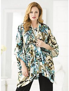 Silky Burnout Kimono and Tank Set by Ulla Popken