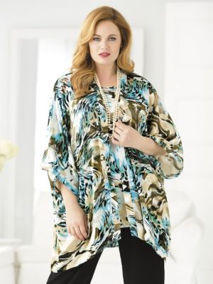 Silky Burnout Kimono and Tank Set
