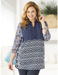 Got the Blues Mixed Print Tunic by Ulla Popken