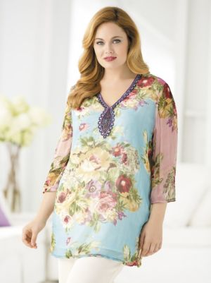 Lush Bouquets Beaded Tunic