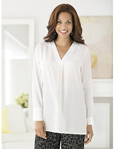 Pleat Front Pullover Blouse by Ulla Popken