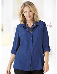 Button-front Wonder-fit Blouse by Ulla Popken