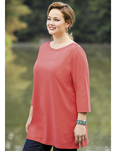 Button Shoulder Knit Tee by Ulla Popken